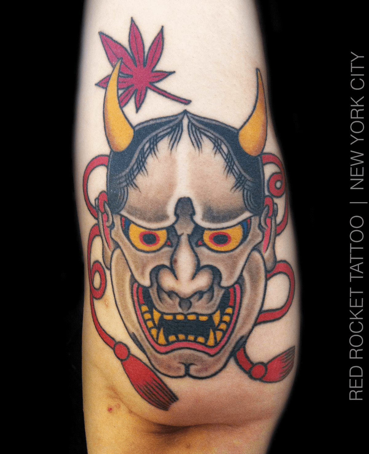 Japanese Hannya Mask Tattoo by Dave Ball
